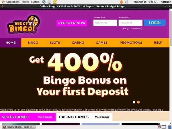 Budget Bingo Free Spins No Deposit