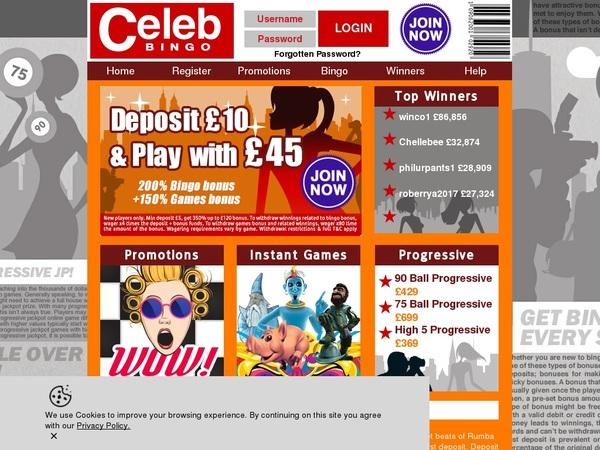 Free Celebbingo Bet