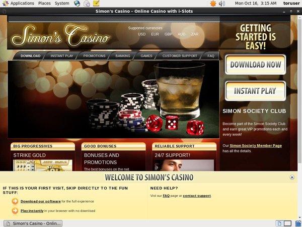 Simon Says Casino Mobile Login